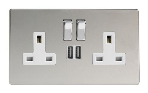 Varilight XDC5U2SWS Screwless Polished Chrome 2 Gang Double 13A Switched Plug Socket 2.1A USB